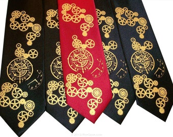 Groomsmen necktie set steampunk clock works print to order on your colors
