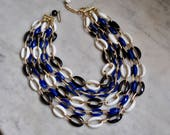 Five Strand Blue and White Link Necklace