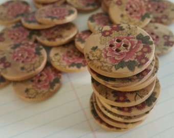 """Floral Wood Buttons - Pink Peony Cottage Chic Button - Flower Print Wooden Button - 1 1/4"""" Wide"""