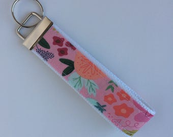 Sale - Pink Floral Wristlet Key Fob - Spring Keychain - Key Chain - Key Ring - Accessory - Gift for Her - Floral Key Ring