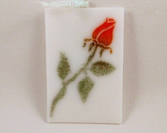Fused Glass Single Red Rose Love Ornament