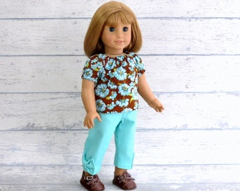 18 inch Doll Clothes Peasant Top with Bow Capris, Brown Turquoise Floral Top with Turquoise Pants