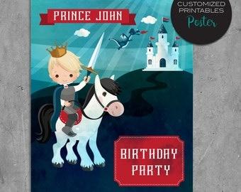 Printable custom Prince Birthday Poster, Custom Red & Blue Prince Birthday Party Poster, wall art, centerpiece, castle, dragon, brave king