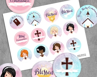 First Communion Stickers. Printable Holly Communion Digital printable round stickers, cupcake toppers  with watercolor background religious