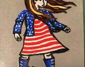 American Girl Hand Painted Notecard