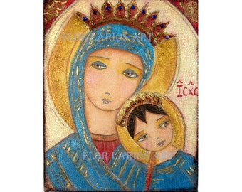 Our Lady of Perpetual Help II -  Giclee print mounted on Wood (6 x 8 inches) Folk Art  by FLOR LARIOS