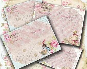 SALE RECIPE CARDS Collage Digital Images -printable download file-