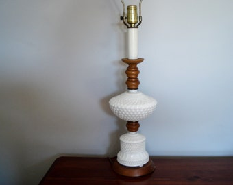Tall hobnail lamp with wood accents