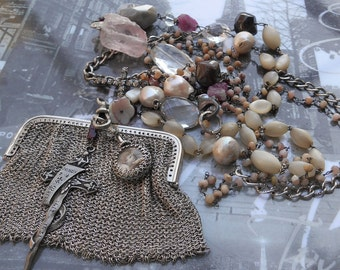 Can't Buy Me Love Antique Sterling Mesh Purse Vintage MOP& Silver Rosary OOAK
