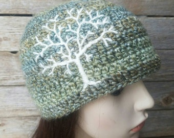 Beanie with Tree of Life Tree Beanie Tree Hat Guys HatTree Hat Womens Hat Hippie Hat Gypsy Hat Sage Green and Cream - MADE TO ORDER