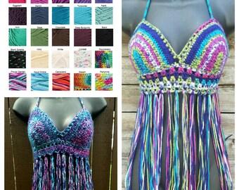 Crochet Halter Top Crochet Fringe Bikini Top Boho Top Bohemian Gypsy Top Tribal Hippie Top Rainbow Tribal Top Beachwear - MADE TO ORDER