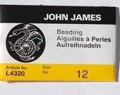 """John James Size 12 English Beading Needles L4320 - 2 1/8"""" Long Needles - Beadweaving Needles - 25 Needles"""