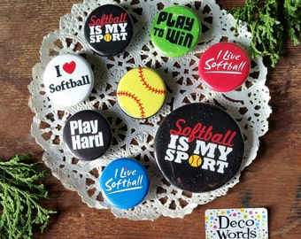 "Softball Pins - 8 Friend Favors 2 sizes: 1 medium, 7 small  1 1/4"" Pinback Badge Buttons Individually wrapped in clear sleeves for Gifting"