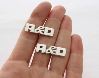 10 pairs of Custom Cufflinks, rectangular Monogram Cuff Links , Made to order, Personalized Cuff Links, For Groom, Groomsmen, Husband