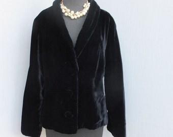 Vintage Black Velvet Jacket, Dinner or Cocktail Jacket, Luxury Velvet Jacket, After Six, Size Large, Bust 40