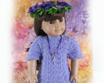 American Girl Doll Knit Dress 18 inch Doll Lavender Knit Dress Am Girl Doll Knit Lavender Dress AG Doll Knit Dress AG Doll Purple Dress