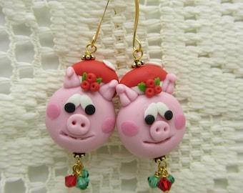 Christmas Pig Earrings Polymer Clay Earrings Holiday Earrings Dangle Drop Earrings Beaded Earrings SRAJD