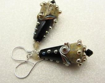 Black Lampwork Earrings Onyx Twisted Cones Lampwork Earrings Glass Bead Earrings Dangle Drop Earrings SRAJD