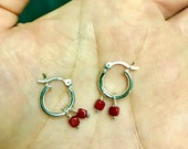 Gem Hoop earrings with two tiny coral cubes