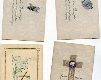 Easter Postcards Grab Bag #22, Lot of 4 vintage postcards, crosses, flowers , lilies
