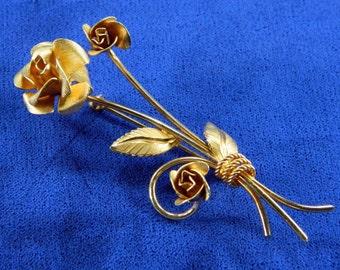 Rose Brooch Gold Filled Signed A.C. Vintage Jewelry Long Stem VGUC 17598