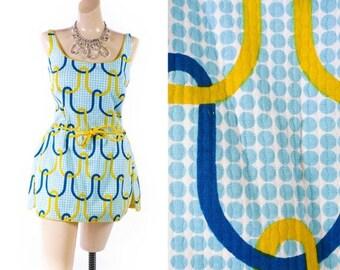 40% OFF SALE Vintage 60s Swimsuit // 1960s Swimsuit // Cotton Playsuit // Polka Dot Swimsuit // Mod Swimsuit - sz M