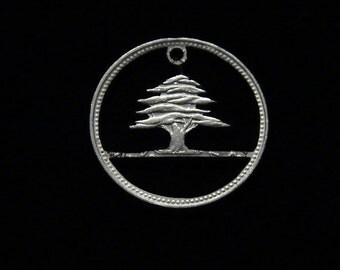 LEBANON - cut coin pendant - Lebanese Cedar Tree - 1961