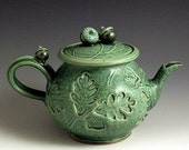 Hand Thrown, Stoneware, Green Slip-Trailed Teapot