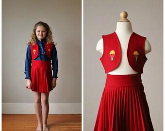 1940s Parachuting Scottie Dog Skirt & Vest Set >>> Size 7/8
