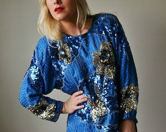 1990s Cobalt Sequin Blouse /// Size Extra Small to Small