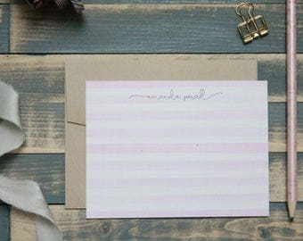 Persoalized Stationery Set Elegant Pink Watercolor Painted | Stationery Gift | Amanda
