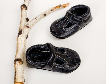 Black T-STRAPS  Soft Soled Leather Shoes Baby and Toddler Free Shipping in US