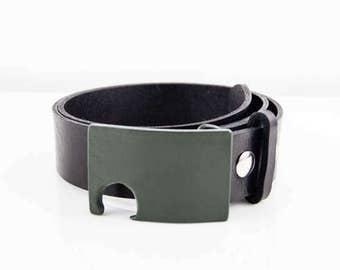 Olive Green Bottle Opener Belt Buckle