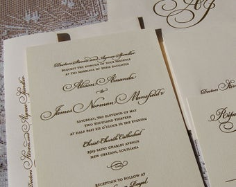 Letterpress Wedding Invitation Sample, Wedding Invitation, Gold Wedding Invitation, Invitation Suite, Wedding Invitations, Script Invitation