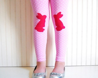 Bunny Leggings. Rabbit Leggings. Girls Leggings. Toddler Leggings. Gift for Rabbit Lover. Kids Easter Leggings. Easter Leggings.