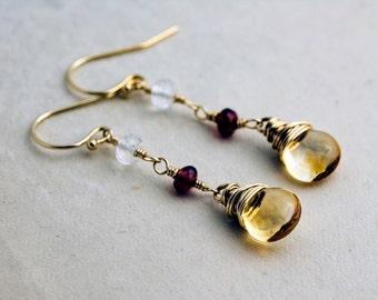 Gold Earrings, Dangle Earrings, Citrine Earrings, Garnet, Crystal Quartz, Gold Filled, polestar, Drop Earrings, Wire Wrapped, Dark Red