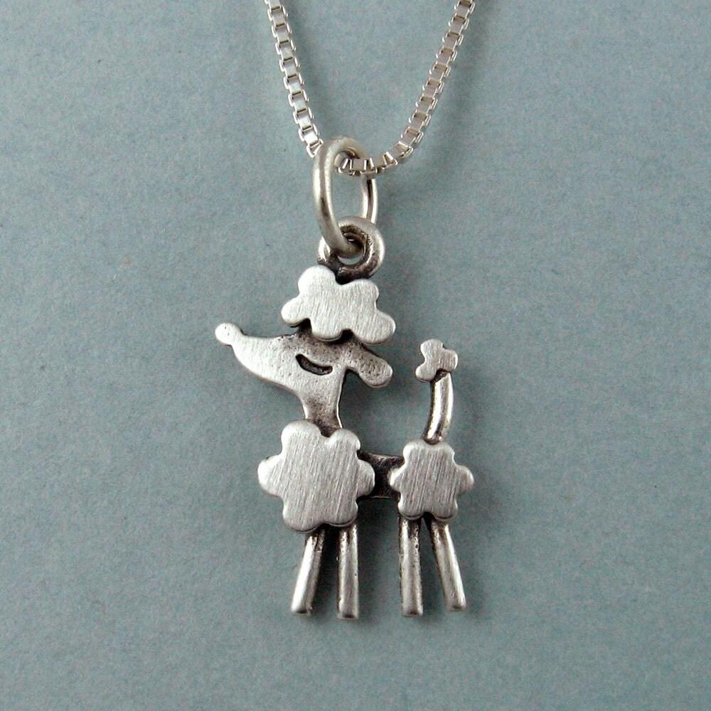 tiny poodle necklace pendant by stickmanjewelry on etsy