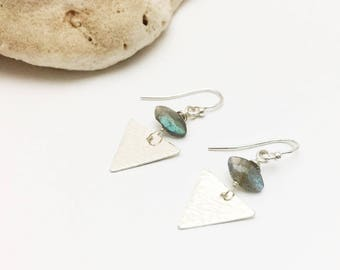 Textured Triangle & Labradorite Earrings- Geometric, Unique, Gemstone, Minimal - E454SS - handcrafted by cristysjewelry on etsy