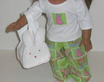 18 inch doll Bunny PJs, bunny slippers and bunny bag