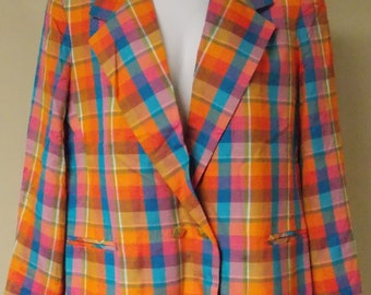 Vintage Lilli Ann Collection bright plaid blazer jacket nubby silky linen texture xlarge/plus
