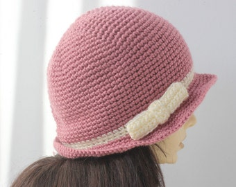 Women's Crochet Hat, Cloche Hat, Bow Hat, Woman's Hat,  Custom, Chose Color, Women's Winter Hat