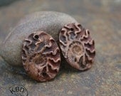 Ammonite Ovals in Copper Earring Charms (1 pair)