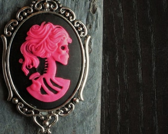 Pink skeleton necklace, hot pink cameo necklace, Halloween necklace, day of the dead necklace, cameo jewelry, unique holiday gift ideas