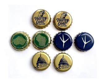 Craft Beer Magnet Set, Wisconsin Brewing Company Magnets, Beer Bottle Top Magnets, Set of Four, Wisconsin Magnets, Refridgerator Magnets