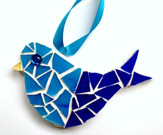 Mosaic Bird Ornament, Mosaic Blue Bird, Hanging Mosaic Bluebird, Blue White Mosaic Bird, Mosaic Bisque Ware Bird Ornament, Bluebird Decor