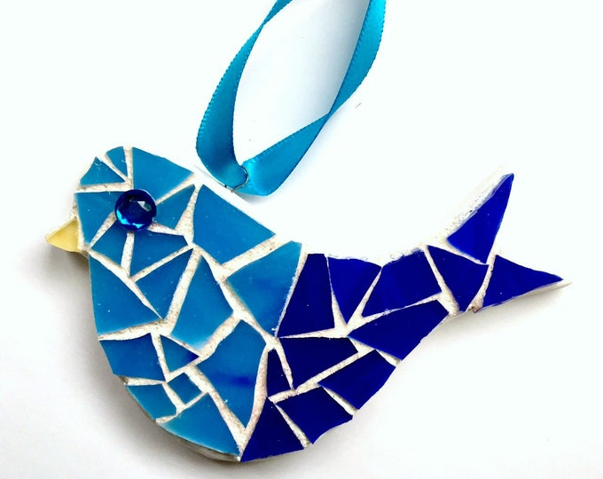Mosaic Bird Ornament, Mosaic Blue Bird, Hanging Mosaic Bluebird, Blue White Mosaic Bird, Mosaic Bisque Ware Bird Ornament, Bluebird Decor