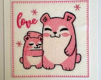 Hugging Bears - Stitched Card