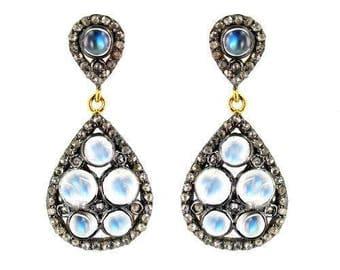 Moonstone Diamond Earrings, Teardrop Post Earrings, Statement Earrings, Sterling Silver, Vermeil, Gemstone Drops, Chandelier
