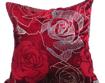 """Wine Red Pillows Cover, Rose Design with Silver Glitter Throw Pillows Cover 16""""x16"""" Burnout Velvet Pillow Covers - Valentine Rose"""