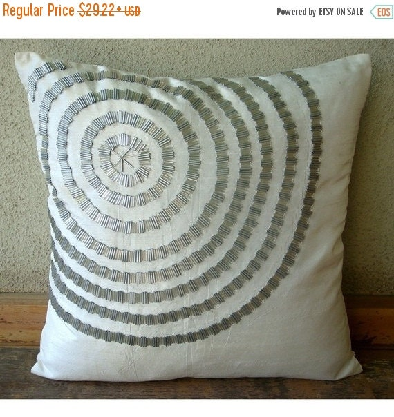 "15% HOLIDAY SALE Luxury White Decorative Pillow Cover, 16""x16"" Silk Pillow Covers, Square  Spiral Pipe Beads Pillow Covers - Staying Centere"